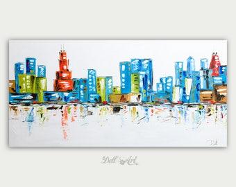 Original Colorful Chicago, Oil Painting, Abstract & Modern Skyline, Impasto,  Artwork, Fine Art, Home Decor