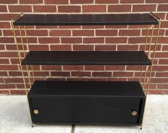 Vintage Metal and Brass Bookcase