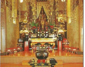 Sanctuary Soto Zen Temple Buddhist in Honolulu Hawaii Vintage Postcard Christmas Greetings