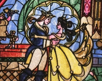 Beauty and the Beast Stained glass fabric by the yard
