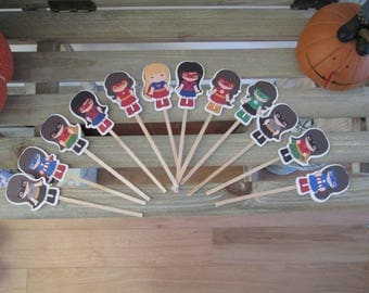 Little Girl Superhero Cupcake Toppers Set of 36 with Free Shipping