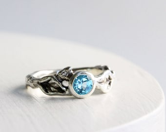 Blue Topaz Silver Leaf Twig Ring, Leaf Ring, Nature Tree Ring
