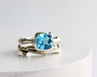Blue Topaz Engagement Ring Set,Sterling Silver Twig Rings, Nature Tree Rings, Square Cushion 8 x 8mm