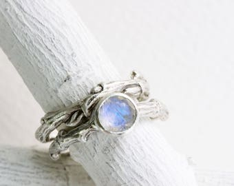 Rainbow Moonstone Engagement Ring Set, Eternity Silver Twig Rings
