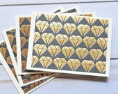 Black and Gold Diamond Mini Cards // Set of 4 // Blank Cards // Gift Card Envelopes // Love Notes // Enclosure Cards // Bridal Shower