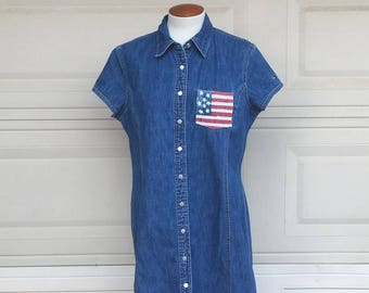 Vintage Hilfiger Dress, Denim Dress, Patriotic Dress, Americana Dress Flag Print Dress Size 16