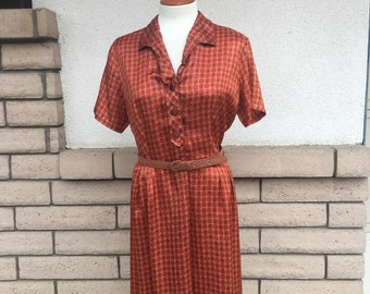 Vintage 50s Shirt Waist Day Dress Rust Medallion Print Size Large