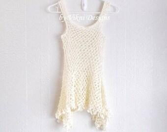 Crochet Tank Top, Fishnet Halter Top, Festival Bohemian Top by Vikni Designs