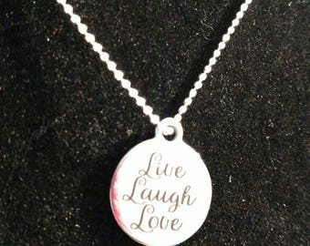 Live Laugh Love - Inspirational necklace - Mantra necklace - Positivity necklace - inspire jewelry - daily reminder - gift for her