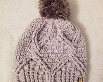 Cables and Bobbles Pom Beanie