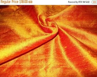 15% off on One yard 100 percent pure orange dupioni silk