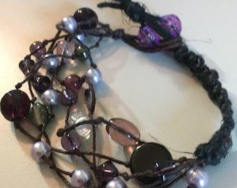 Midnight purple black hemp statement bracelet