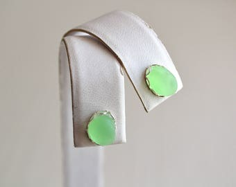 UV Lime Green  Genuine Sea Glass Post or Stud Earrings in Sterling Silver Mounts