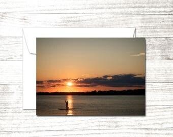 Sunset Photograph | Blank Note Card | Greeting Card | Standup Paddle Board Photo | Summer Sunset | Coastal Art