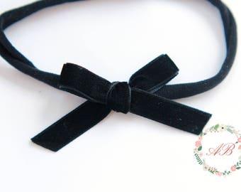 Black Velvet Bow Headband - Black Bow Headband - Hand Tied Bow Headband - Nylon Headband - Newborn Bow Headband