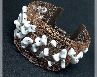 Wire crocheted bracelet with howlin stones