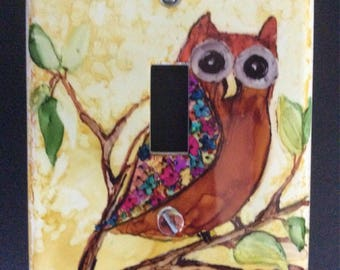 Alcohol ink owl switch plate cover
