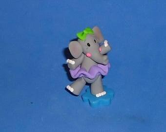Polymer Clay Little Ballerina Elephant with Purple Tutu