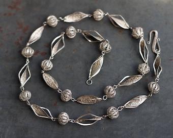 Silver Filigree Beads Necklace - Elegant Antique Silver