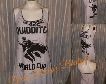 RECYCLED UPCYCLED Halter top dress Made from used licensed Harry Potter Quidditch shirt size Medium