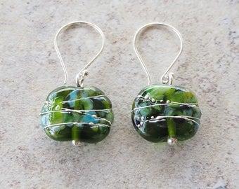 Earrings. Green earrings. Dangly earrings. Beaded earrings. Glass earrings. Upcycled. Recycled glass. Champagne lovers. Gift for mom.