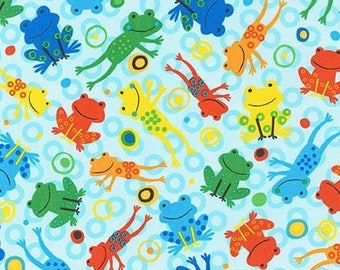16 x 20 LAMINATED cotton fabric remnant (similar to oilcloth)  - Leaping Jumping Frogs on Aqua BPA free - Approved for children's products