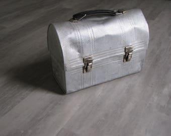 Vintage Distressed Silver Metal Industrial Lunchbox