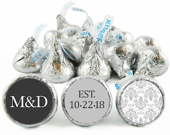 Set of 108 - Light Gray Paisley Monogram Kiss Stickers for Hershey's Kisses. Wedding Labels for Kiss - Wedding Party Favors - #IDWED705