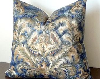 Gold, Blue Fleur De Lis Pattern Pillow, Floral, Royal Blue, Accent Pillow, Blue Pillows, PillowSplashStudio