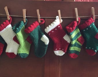 12 Days of Christmas Stockings, hand knit mini stockings