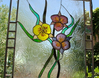 Stained Glass Window Panel READY To Ship lilies flower
