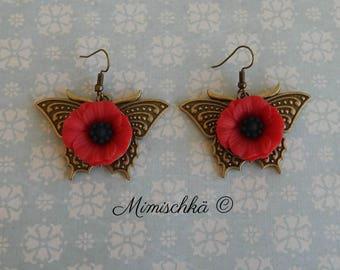 Earrings butterfly and poppy