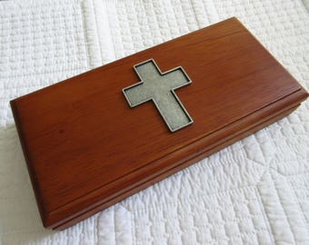 Walnut Box with Silver Cross Men's Valet Box Jewelry Box