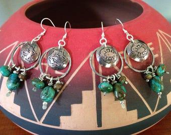 Handmade Hoop Earrings, southwestern, Boho, Kingman Arizona Turquoise Earrings, Concho Earrings