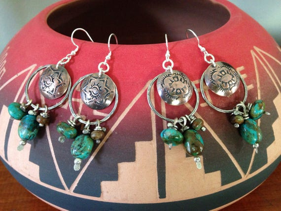 Handmade Hoop Earrings, southwestern, Boho, Kingman Arizona Turquoise Earrings, Concho Earrings