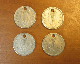 holed Irish lot 4 three pence rabbit coins, Ireland, collecting, craft, jewelry, supply, supplies,lucky,coins with hole, charm, pendant,hare