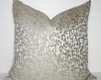 Metallic Grey Taupe Leopard Animal Print Pillow Cover Couch Decor from HomeLiving Size 18x18