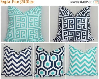 FALL Is COMING SALE Outdoor Pillow Covers Geometric Chevron Greek Key  AquaBlue/Navy Deck Patio