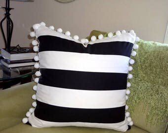 FALL is COMING SALE Black & White Horizontal Stripe Pom Pom Fringe  Pillow Cover Pom Pom Pillow Cover Choose Size
