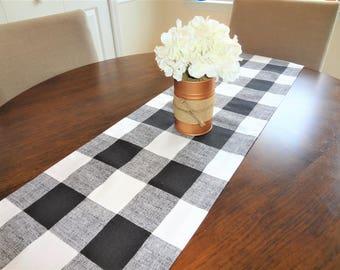 "Farmhouse Buffalo Plaid Table Runner Black & White Plaid Runner Large Black 3"" Checked Table Runner All Sizes"