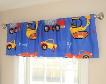 Curtain Valance Topper Window Treatment 52x15 Blue Orange Yellow Trucks and Bulldozers Boys Room Valance Home Decor