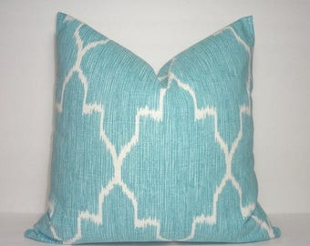 SPRING FORWARD SALE Blue Ikat Geometric Lacefield Monaco Mist Pillow Cover Decorative Throw Pillow 18x18