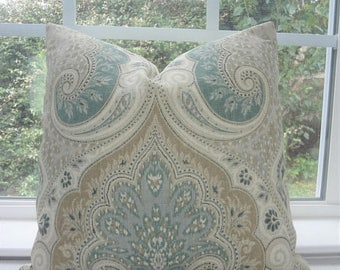 SPRING FORWARD SALE Kravet Latika Seafoam Linen Ikat Pillow Cover Green Tan Paisley Pillow Cover Choose Size