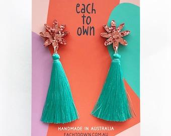 Flora Tassel Drop - Dusty Pink Glitter and Mint Teal Tassel - Laser Cut Acrylic Flower Drop Earrings - Each To Own Original