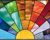 Custom listing for J stained glass rainbow arch panel 12 1/2 x 7 1/2