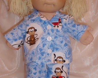 """Cabbage Patch Blue Monkeys and Hearts Print Soft Flannel Pajamas, Baby Alive Pajamas, 16""""-18- Doll Pajamas"""