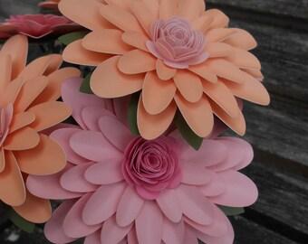 CHOOSE YOUR COLORS Gerber Daisy Bouquet. Gerbera. Centerpiece, Wedding, Anniversary, Birthday Gift. Paper Flower, Bridal. Gerbera