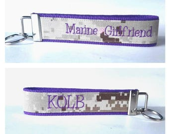 Marine Girlfriend Key Fob in Purple ~ Double Sided ~ Personalized ~ Last Name
