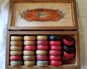 Antique Carrom Wooden Rings Game Pieces Wood Box