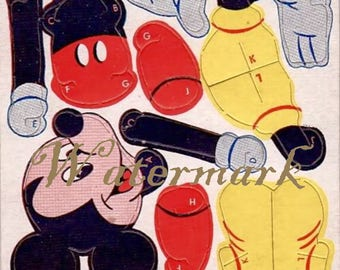 Vintage JOINIES Toy Cut out Digital Download Printable Image for DIY Mickey Mouse